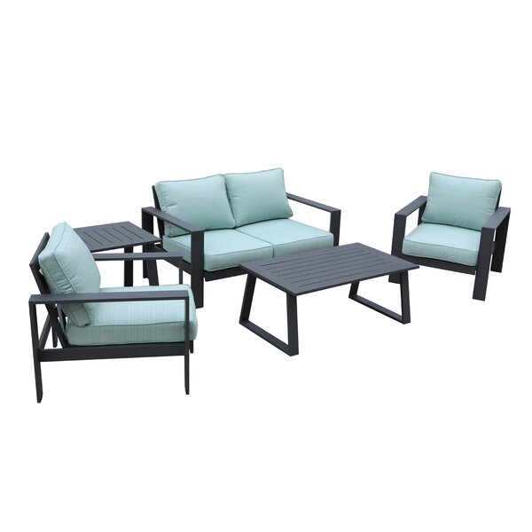 Lacombe All-Weather Outdoor 5 Piece Multiple Chairs Seating Group with Cushions by Brayden Studio