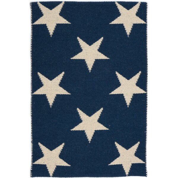 Star Hand Woven Blue/White Indoor/Outdoor Area Rug by Dash and Albert Rugs