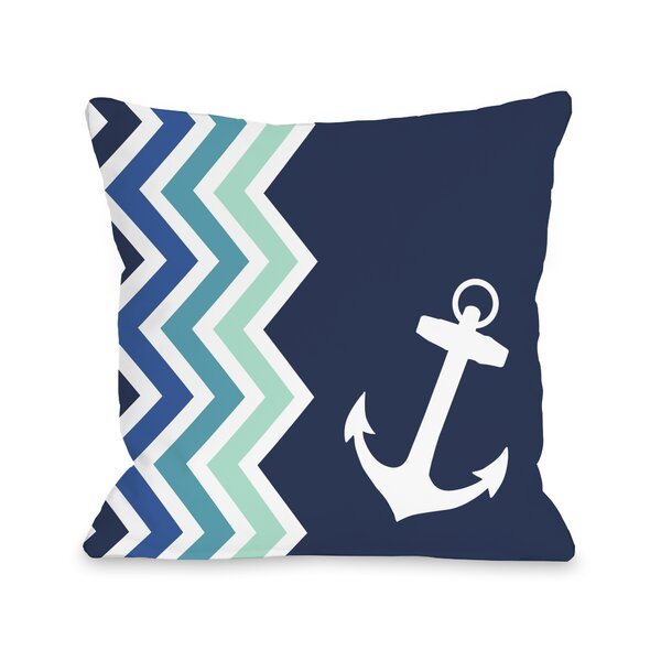Chevron Anchor Throw Pillow by One Bella Casa