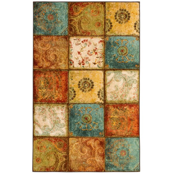 Aftonshire Rust Red/Blue Area Rug by Red Barrel Studio