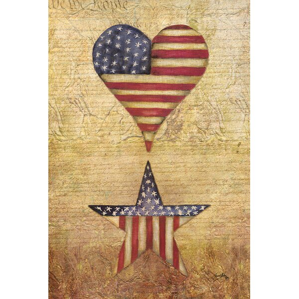 Patriotic Heart and Star 2-Sided Garden flag by Toland Home Garden