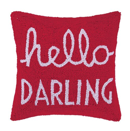Hello Darling Square Hook Wool Throw Pillow by Peking Handicraft