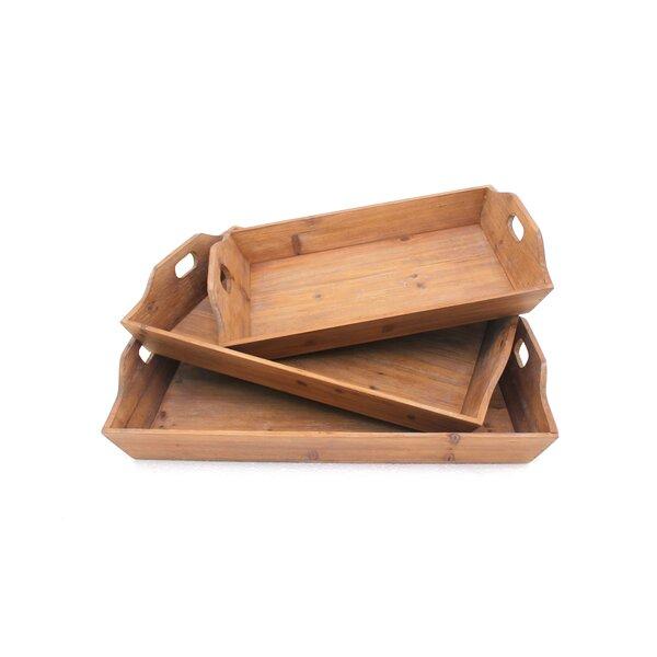 Schermerhorn 3 Piece Wood Tray by Millwood Pines
