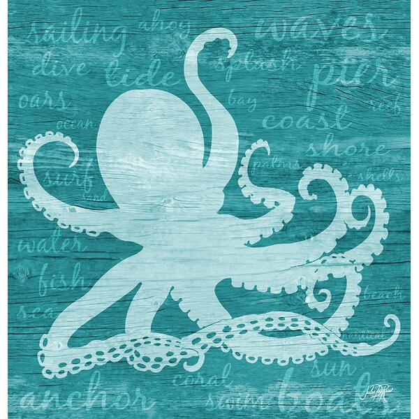 Shelford Octopus Words Shower Curtain by Longshore Tides