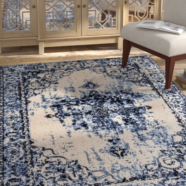 Rowes Overdyed Distressed Black/Gray/White Area Rug by Bloomsbury Market