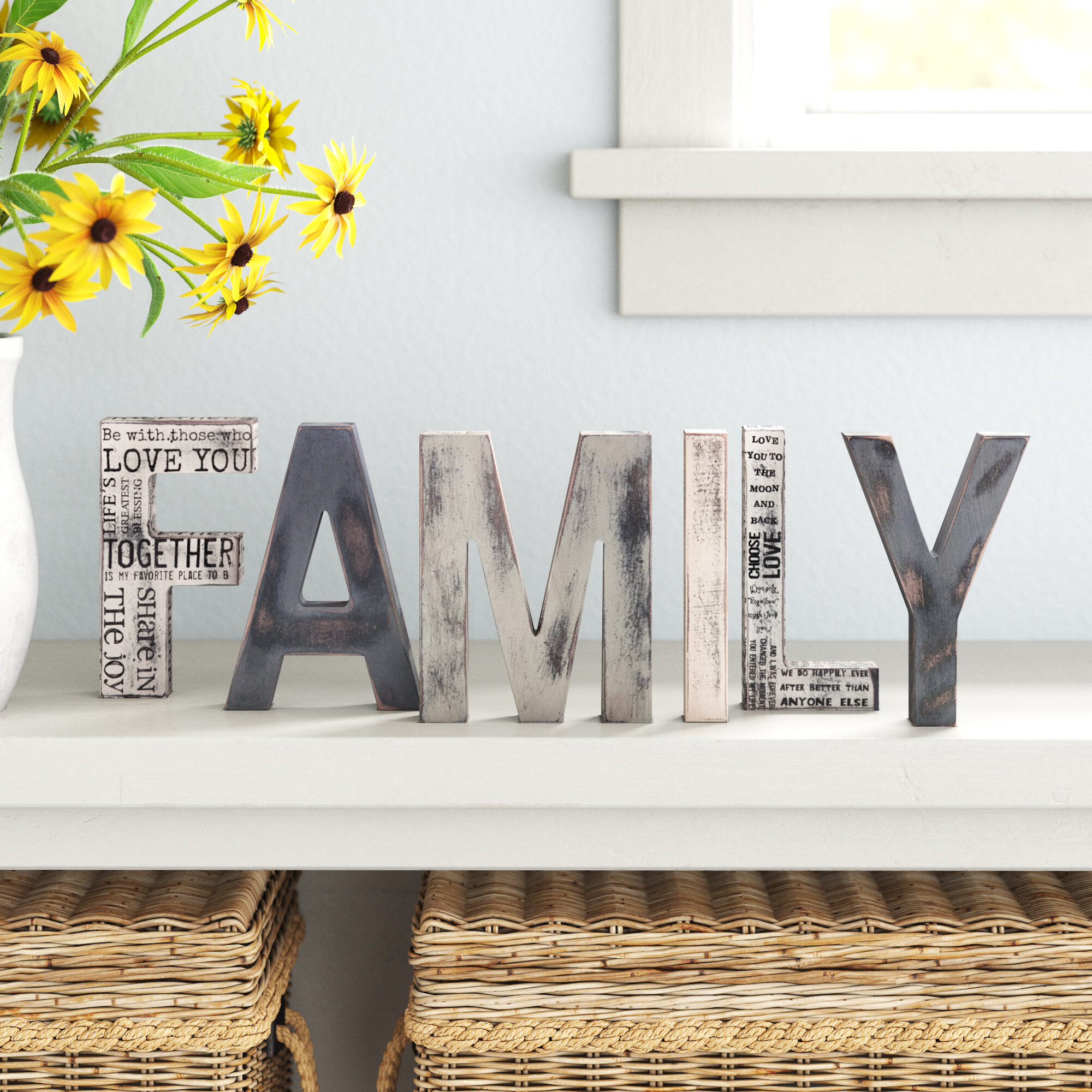 Grey Letter Block Decorative Objects You Ll Love In 2021 Wayfair