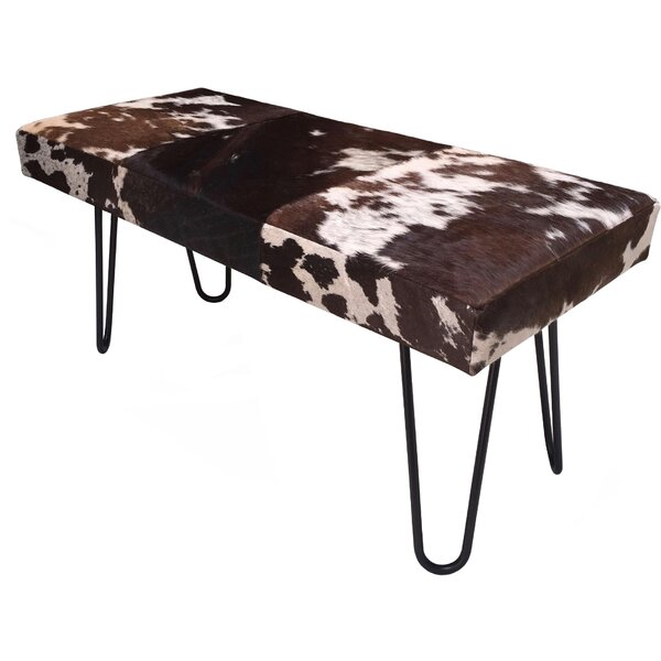 Cowhide Upholstered Bench By Foundry Select by Foundry Select Wonderful