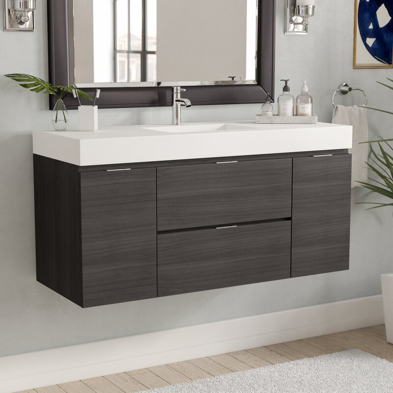 Wade Logan Tenafly Single Wall Mount Modern Bathroom Vanity Set - Bathroom vanities palm beach