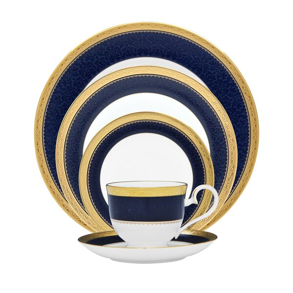 Odessa Cobalt 5 Piece Bone China Place Setting Set, Service for 1 by Noritake