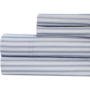 Tram Stripe Printed Microfiber 4 Piece Sheet Set
