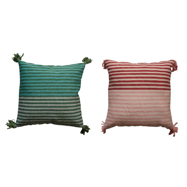 Eddins Square Striped Wool Kilim Throw Pillow (Set of 2) by Bungalow Rose