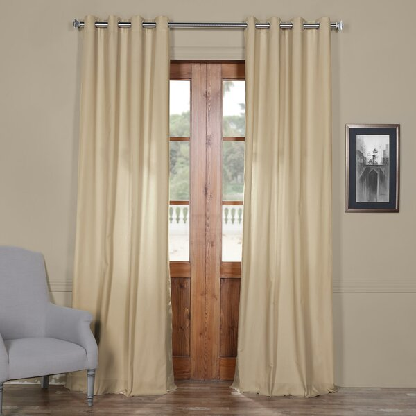 Anacari Solid Grommet Indoor Cotton Curtain Panel by Gracie Oaks