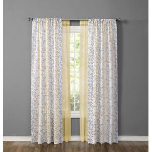 Made4You Nature/Floral Sheer Rod pocket Curtain Panel
