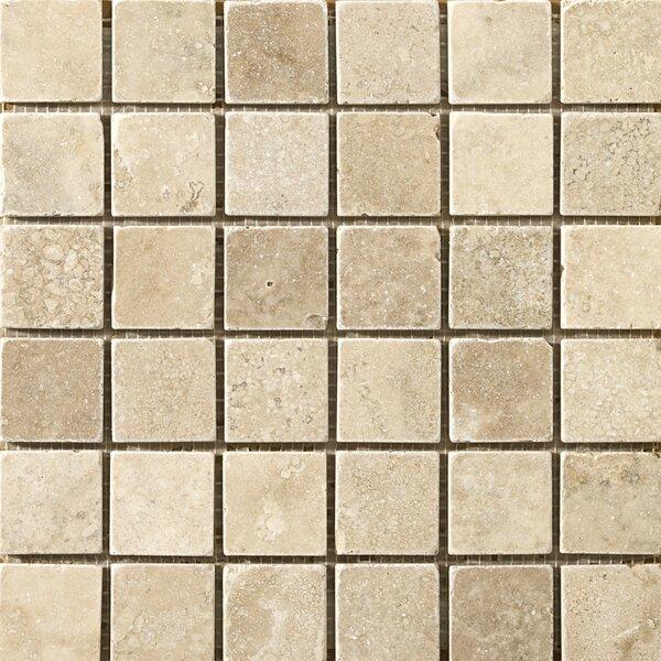 Travertine 2 x 2/12 x 12 Vino Tumbled Mosaic Tile in Cream by Emser Tile