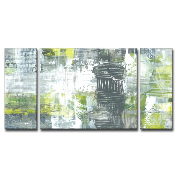 Corrigan Studio 'gray And Yellow Dashes' Acrylic Painting Print Multi Piece Image On Canvas & Reviews by Corrigan Studio