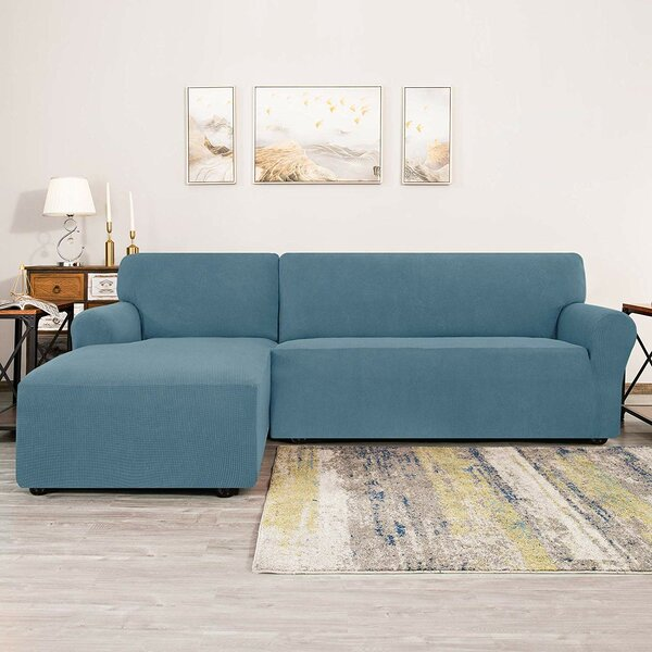 Review Bolee L-Shaped Jacquard Stretch Box Cushion Sofa Slipcover