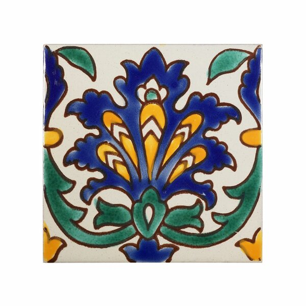 Mediterranean 4 x 4 Ceramic Andalusia  Decorative Tile in Blue by Casablanca Market