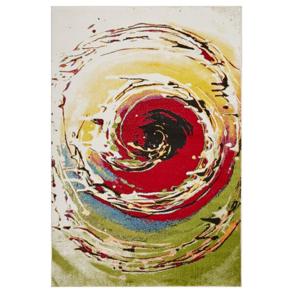 Andreasen Abstract Swirl Red/Black/Yellow Area Rug by Wrought Studio