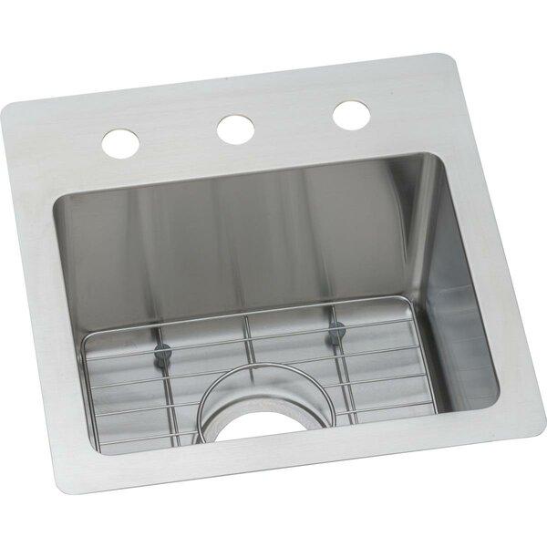 Crosstown 15 x 15  Dual Mount Kitchen Sink with Basket Strainer
