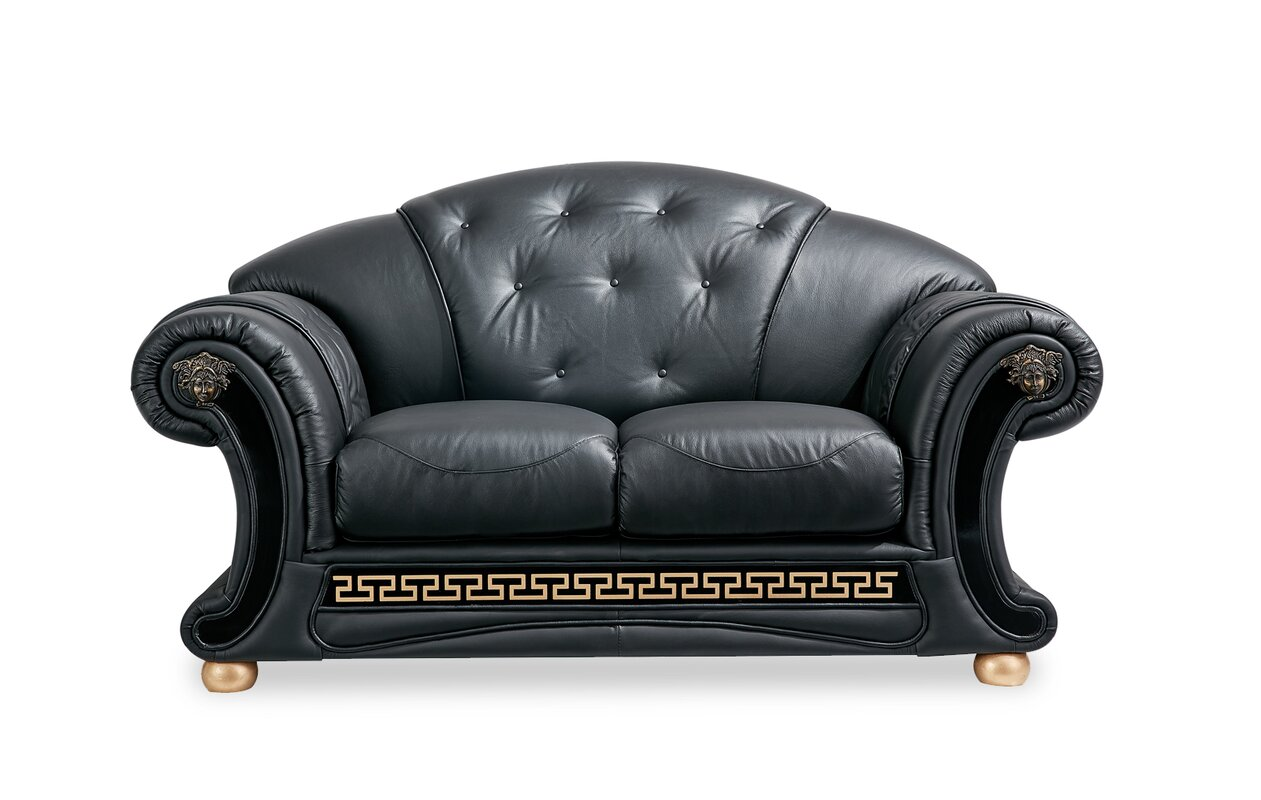 Beautiful Williamsburg Leather Loveseat By World Menagerie