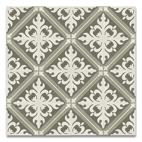 Kasba 8 x 8 Handmade Cement Tile in Green/White by Moroccan Mosaic