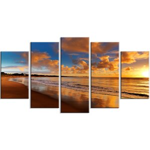 'Colorful Sunset on the Beach' Photographic Print Multi-Piece Image on Canvas by Design Art