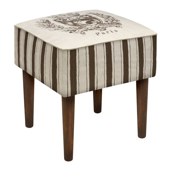 Paris Crest Upholstered Vanity Stool by 123 Creations