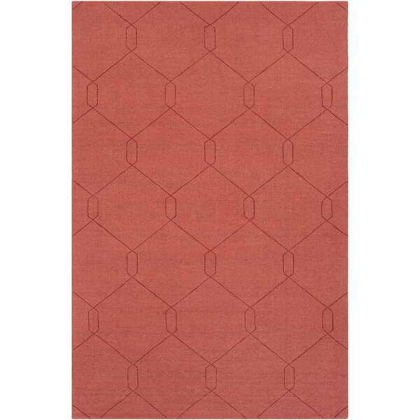 Pulcova Hand Woven Wool Burnt Orange Area Rug by Wrought Studio