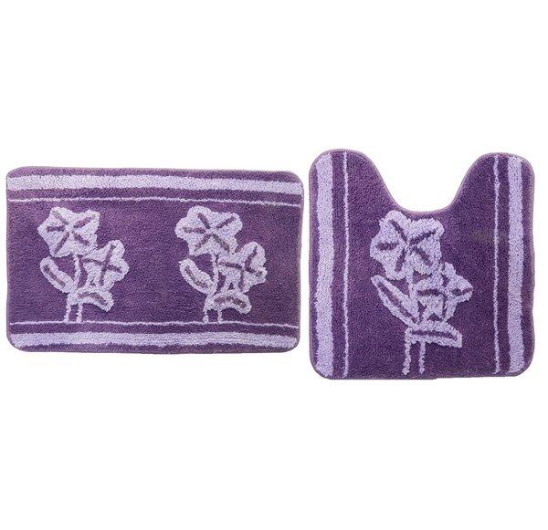 Berlyn Purple Multiple Non-Slip Floral 2 piece Bath Rug Set