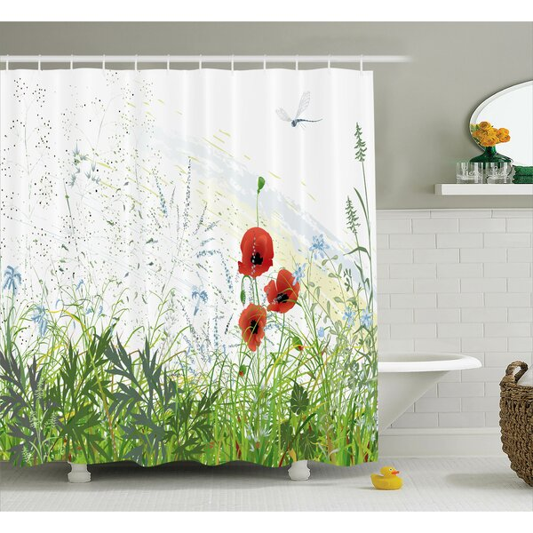 Bonnie Country Illustration of Meadow Field With a Single Fleur-De-Lis on Grunge Background Shower Curtain by Ebern Designs