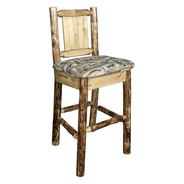 Southborough Rustic 24 Full Back Bar Stool by Loon Peak