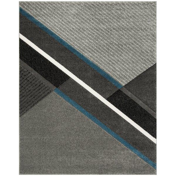 Anne Power Loomed Gray/Teal Area Rug by Orren Ellis