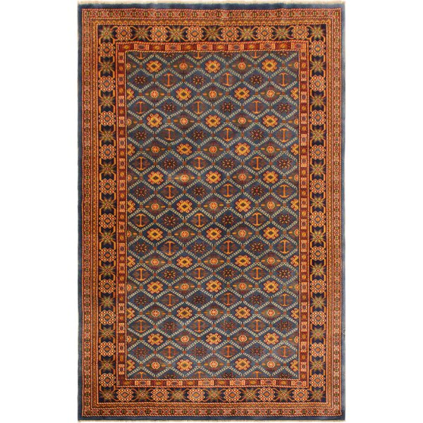 One-of-a-Kind Armillac Hand-Knotted Wool Dark Blue/Blue Area Rug by Bloomsbury Market