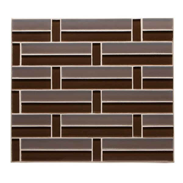 Studio 11.75 x 11.38  Glass Mosaic Tile in Cocoa by Kellani