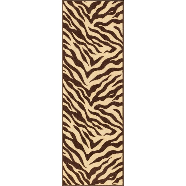 Kings Court Brown Zebra Animal Print Rug by Well Woven