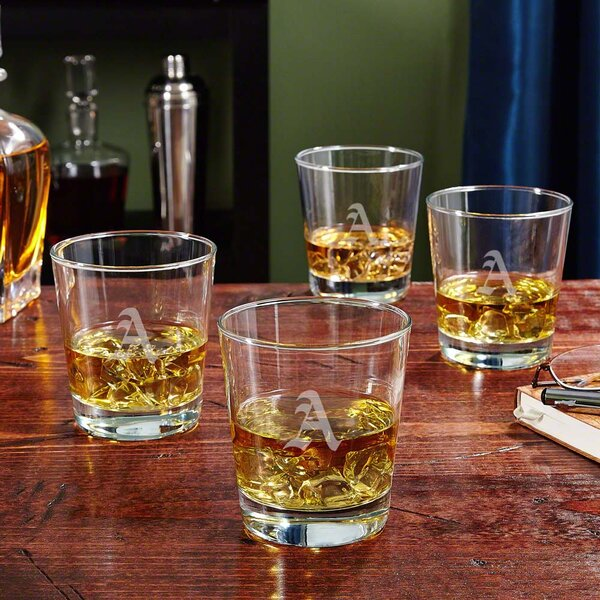 Personalized On the Rocks 12 oz. Whiskey Glass (Set of 4) by Home Wet Bar