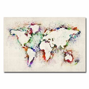 World Map - Paint Splashes by Michael Tompsett Painting Print on Wrapped Canvas by Trademark Fine Art