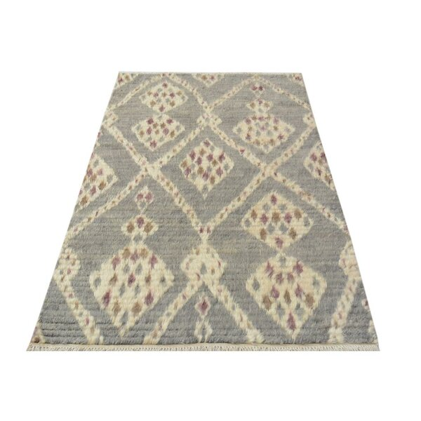 One-of-a-Kind Kimberlee Moroccan Hand-Knotted Wool Gray/Ivory Area Rug by Bloomsbury Market