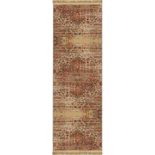 Shipley Sand/Beige Area Rug with Beige Fringe by World Menagerie