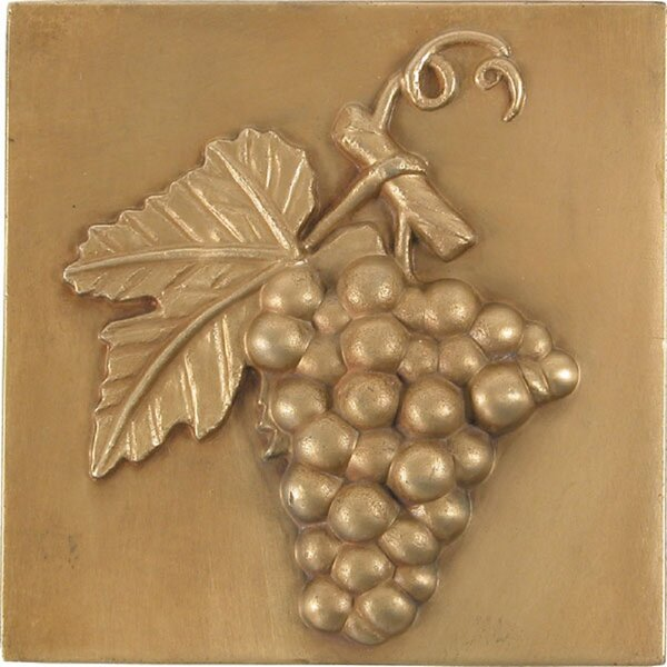 4 x 4 Metal Grapes Accent Tile in Antique Brass (Set of 4) by The Copper Factory