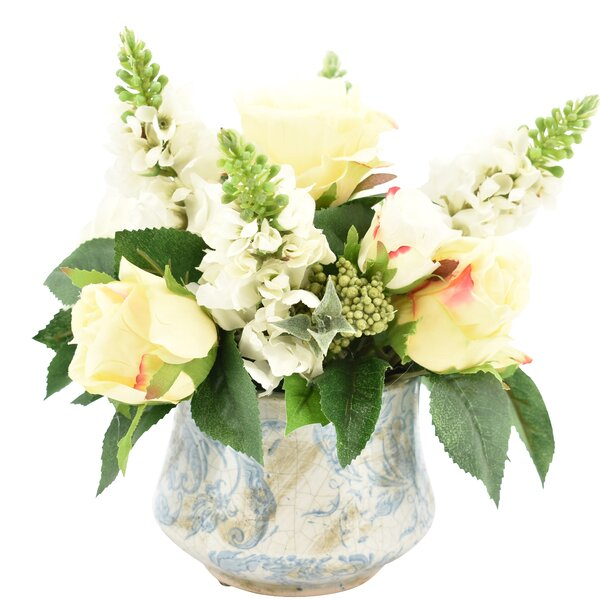 Roses and Lilac Floral Arrangement in Vase by Charlton Home