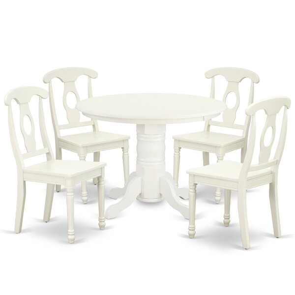 Lampert 5 Piece Solid Wood Dining Set by August Grove