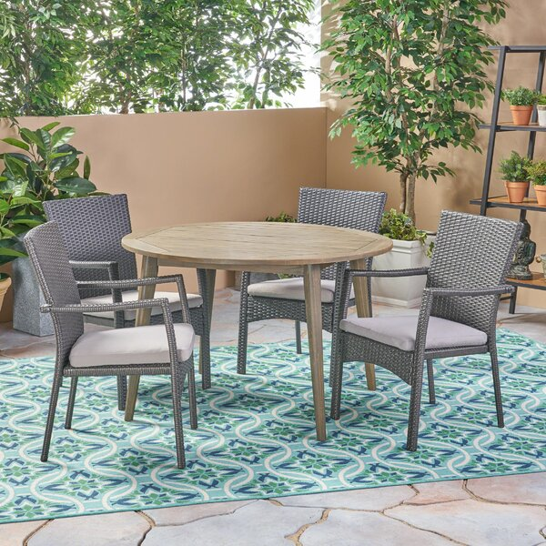 Rockhampton Outdoor 5 Piece Dining Set with Cushions by Bungalow Rose