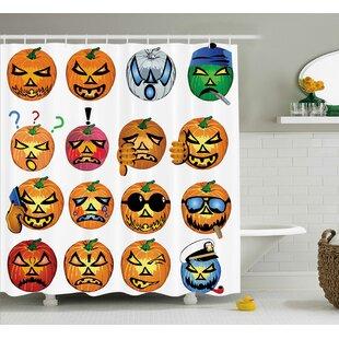 Inexpensive Halloween Decor Pumpkin Emoji Shower Curtain ByThe Holiday Aisle