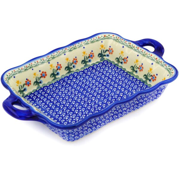 Spring Flowers Rectangular Non-Stick Polish Pottery by Polmedia