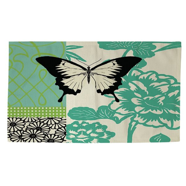 Butterfly Journey 1 Green Area Rug by Manual Woodworkers & Weavers
