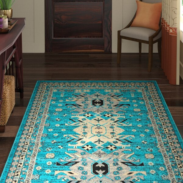 Sina Turquoise Area Rug by World Menagerie