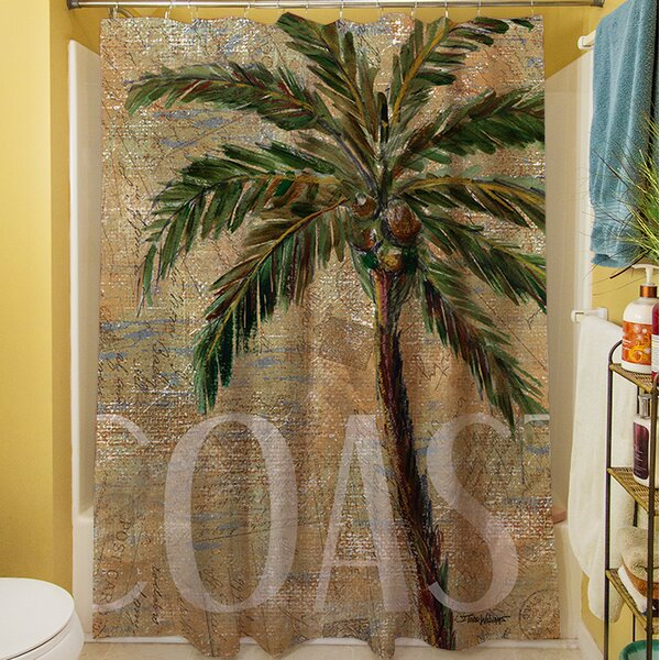 Coastal Palm Postcard Shower Curtain by Manual Woodworkers & Weavers