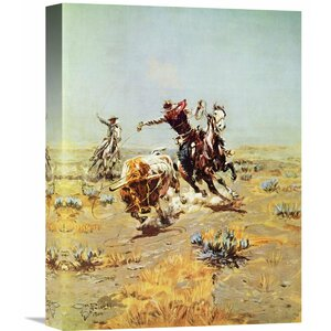 'Cowboy Roping a Steer' by Charles M. Russell Painting Print on Wrapped Canvas by Global Gallery
