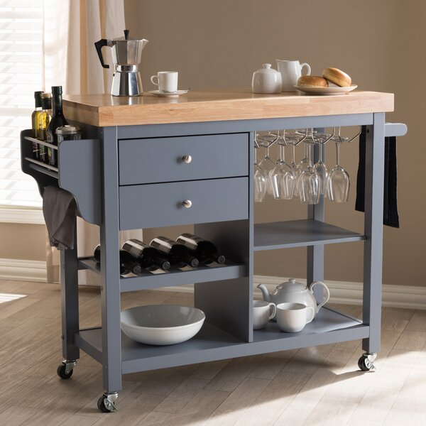Hoglund Kitchen Cart with Wood Top by Charlton Home